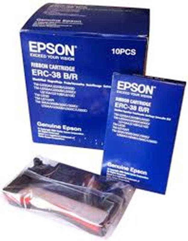 Ribbon, BLK/RED, 10PK for Epson TM-U230/220,EPS-ERC38BR